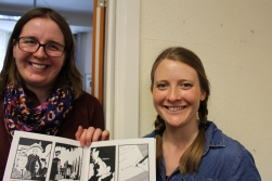 Lydia and Emily Nicholson, our Communications Officer, with the comic book