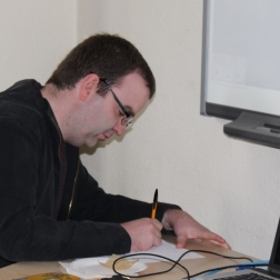 Richard McMann works on a moving speech about what volunteering for the WEA has meant to him